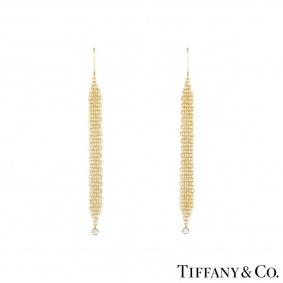 Tiffany & Co. Yellow Gold Elsa Peretti Mesh Diamond Earrings